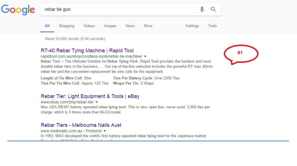 position 1 in Google